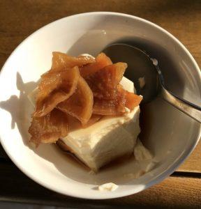Daikon pickles, silken tofu, teriyaki sauce