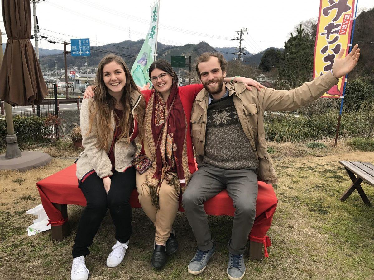 The three interns at Yamajin tea cafe