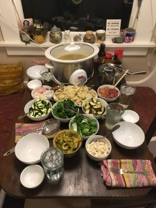 Prepared hot pot on the kitchen table