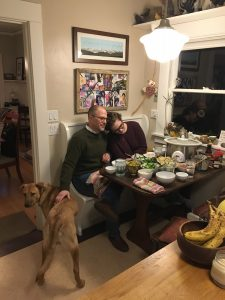 My Dad, my dog Lilly, and me (plus a truly ridiculous amount of food for 3 people)