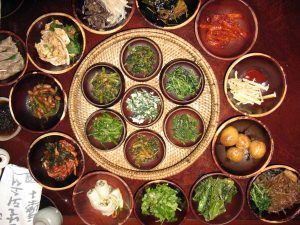 A traditional meal one may experience at a Buddhist temple in South Korea