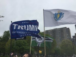 """Participants in """"Free Speech Rally"""" in Boston carry Trump signs (Credit: It's Going Down)."""