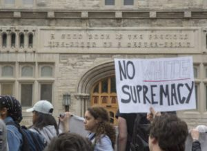 Protesters against Charles Murray in Illinois outside his lecture (Credit: It's Going Down).