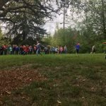 5th grade field trip playing tag games in the grass