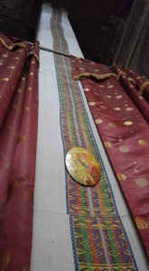 Covering for the sacred Tabot, an artifact representing the Ark of the Covenant. There is one inside of every Ethiopian Orthodox Church, and these historic sites are no exception