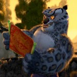 An anthropomorphic snow leopard from the movie Kung Fu Panda.