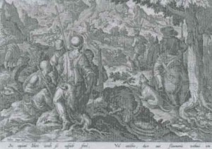 Engraving of a Mountain Goat hunt