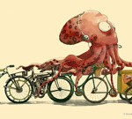 Image of an octopus riding bike selling icecream.