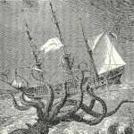Image of an octopus attacking a ship.