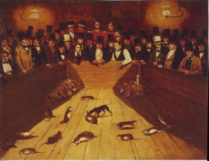 English School Rat-Catching at the Blue Anchor Tavern. 1850-52. Oil on canvas London, Museum of London