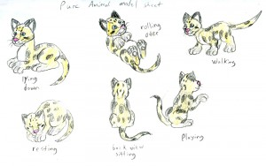 Drawings of the clouded leopard in a pure animal style.
