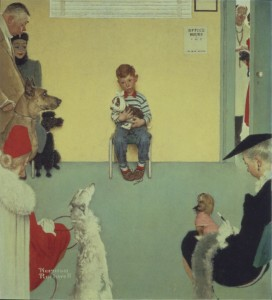 Norman Rockwell (1894-1978) Common Problems, or Waiting for the Vet. 1952. Oil on masonite 43.2x39.4 cm Private Collection