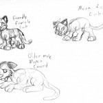 A few different attempts at a 'Disney' style of cartooning. Includes a mean female cub, a friendly female cub, and a cowardly adult male.