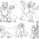 A variety of poses of an anthropormorphic clouded leopard in traditional style.