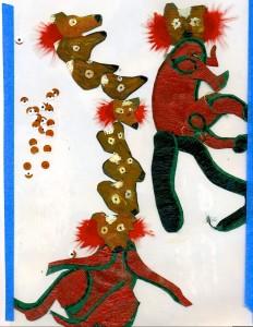 Image of cutout paper articulated lemur puppet