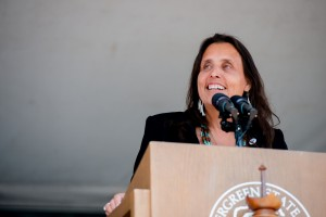 Winona LaDuke, guest speaker at Evergreen's Class of 2014 Commencement Ceremony