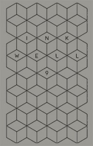 "The front cover of a book. It has a grey background with a black repeating geometric design and says ""Inkwell 9"""
