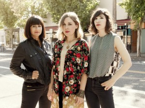 Left to right: drummer Janet Weiss, singer-guitarist Corin Tucker, singer-guitarist Carrie Brownstein.