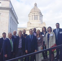 Greeners joined forces with alumni from Washington's four-year baccalaureates to speak to legislators about investment in higher education.  Photo - Julie Garver, 2/18/15