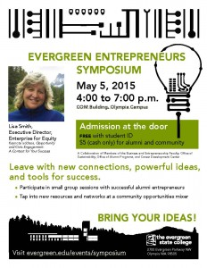 Evergreen Entrepreneurs Symposium May 5 Digital Flyer