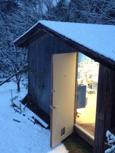 Gaelen's workshop covered in snow.