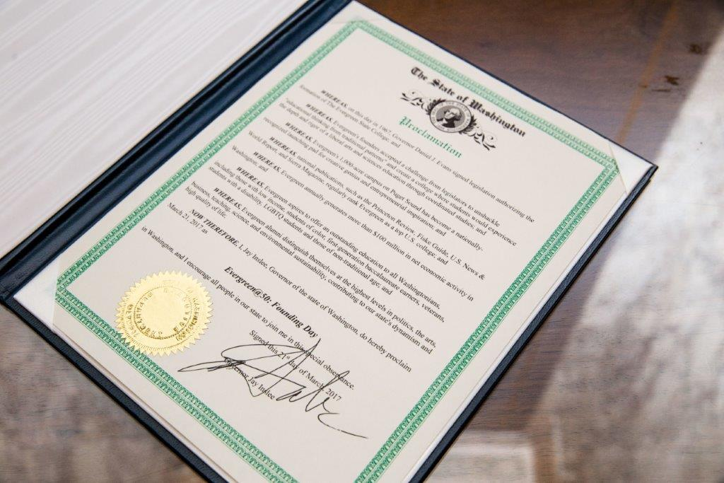 Evergreen @ 50: Legislative Launch Day Proclamation signed by Governor Jay Inslee