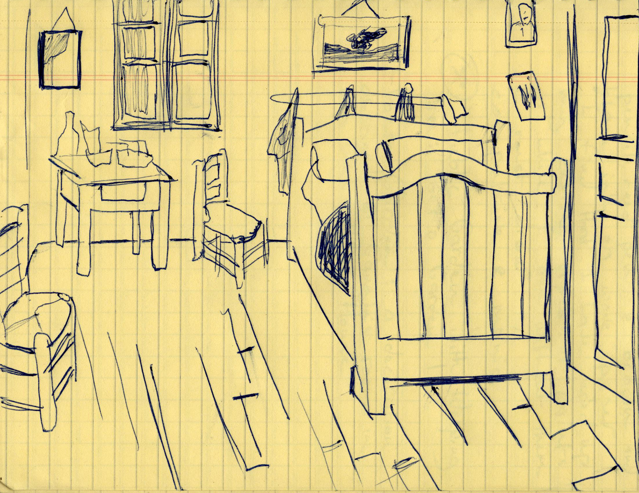 Sketch of \'Van Gogh\'s Bedroom\' Vincent Van Gogh 1888 | Meditation ...