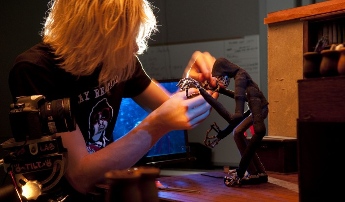 Tommy Thompson works on his year-long stop-motion animation project entitled High Strung on Monday, March 1, 2010 . Hannah Pietrick/ TESC