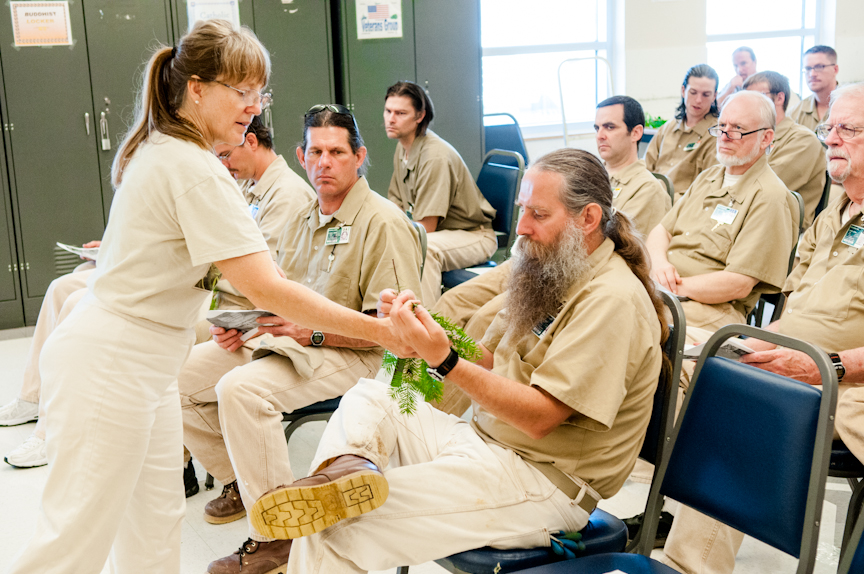 Inmates attend a monthly Sustainability in Prisons Project lecture by Anna Thurston at Stafford Creek Corrections Center in Aberdeen, WA on Thurs., Aug. 16, 2012.