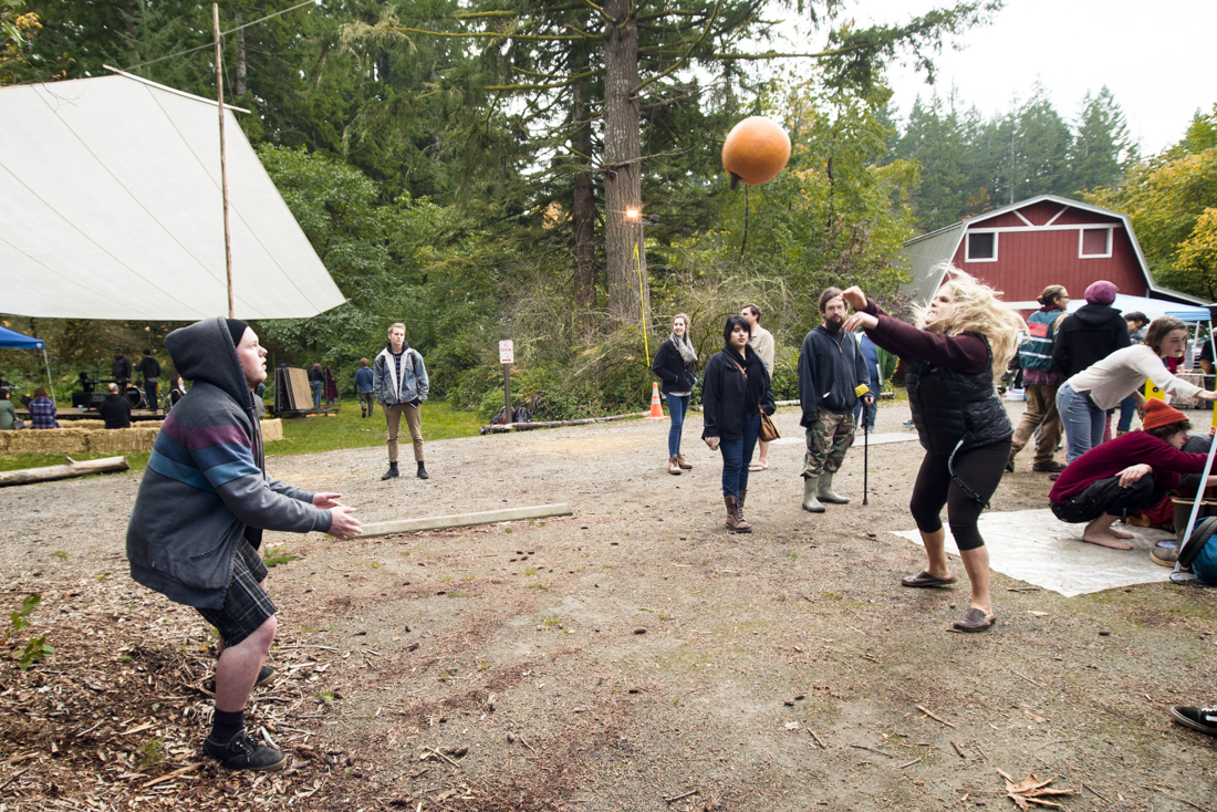 Impromptu pumpkin tossing competition during the 2013 Harvest Festival at the Organic Farm. Sat., Oct. 12 2013