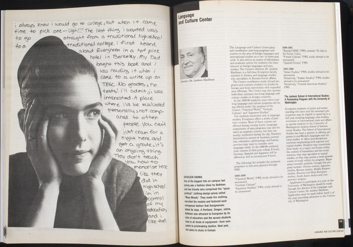 "Kathleen as Evergreen catalog ""narrator"" for t 1989-90"