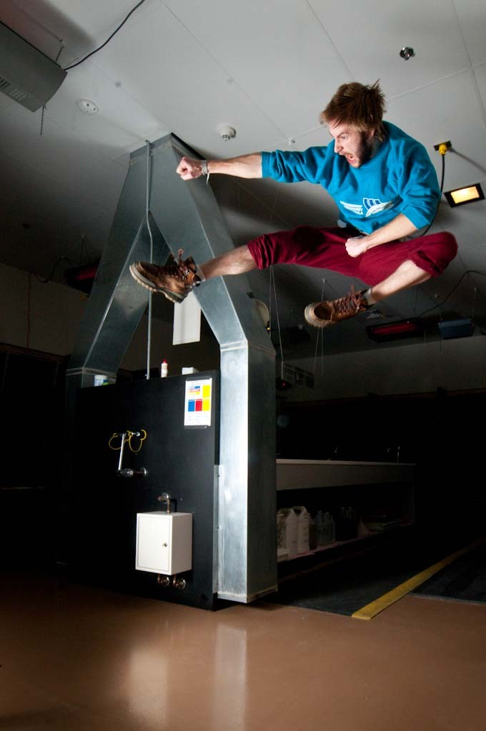Pual Krogh, photoland intern, flies high in the darkroom (Photo/Riley Shiery)