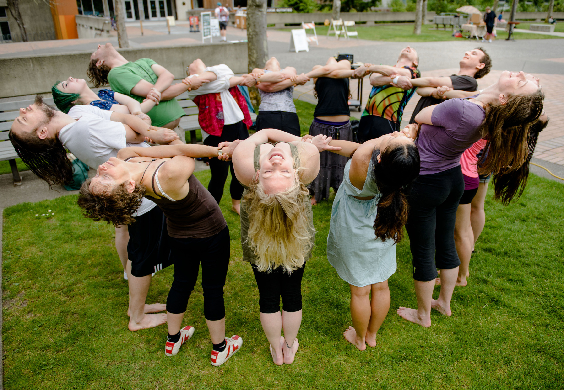 Carolyn Prouty hosts a community kaleidoscope yoga class with guest teacher Joanne Lee . Thursday