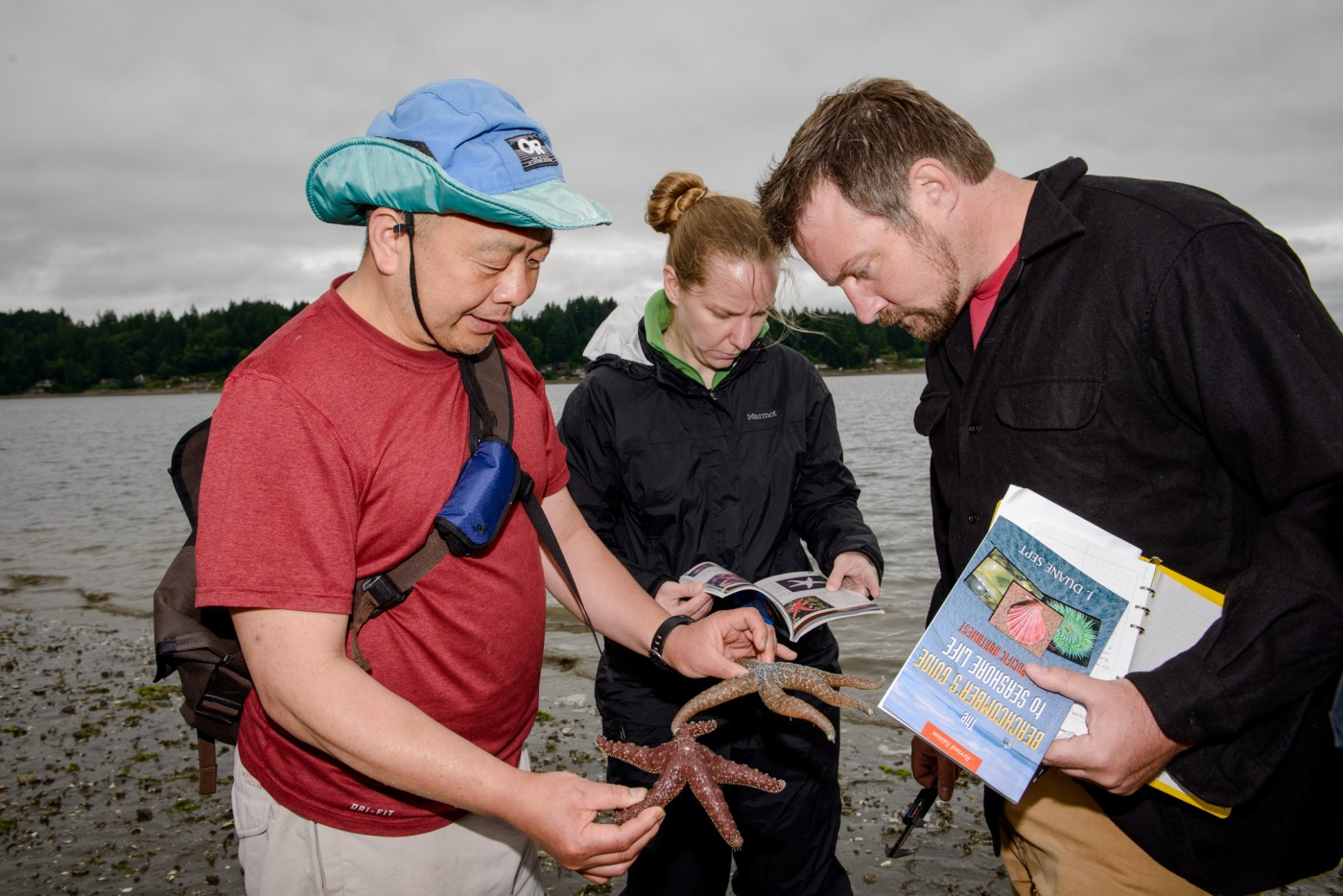 Faculty Gerardo Chin-Leo checks out starfish with students.