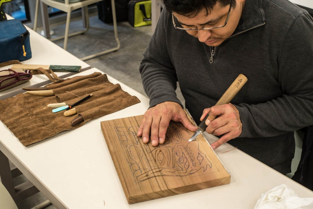 "Alex McCarty works on a traditional style woodcarving in ""Studio Projects: Tradition and Innovation"" taught by Alex McCarty and Lisa Sweet"
