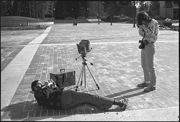 Photo students from 1972.  That view camera is still in use today!  Media gear lasting over 43 years!  -Photo by Chris Rauschenberg