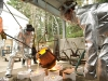 Evergreen students participate in a bronze pouring under the direction of Bob Leverich in March of 2008.