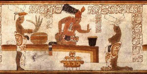 A Late Classic (A.D. 600–800) vase depicts a Maya lord being presented with a bowl of frothing cacao, or chocolate. http://historum.com/ancient-history/19200-power-chocolate.html